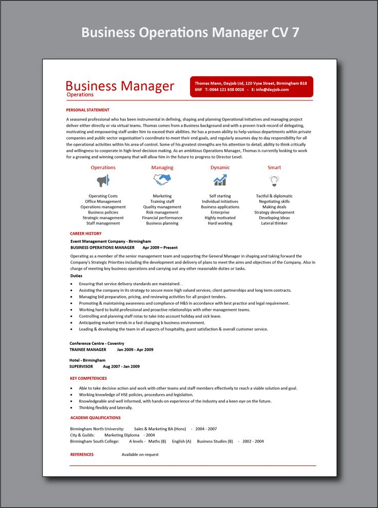 Business operations manager cv 7 example in 2021