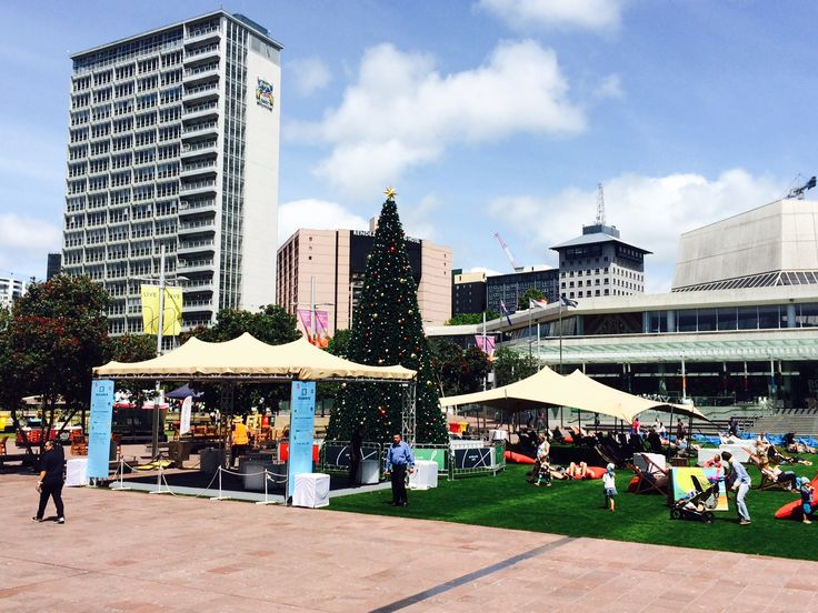 Truss rig alongside a standard Schupepe rig at Aotea Square for summer...