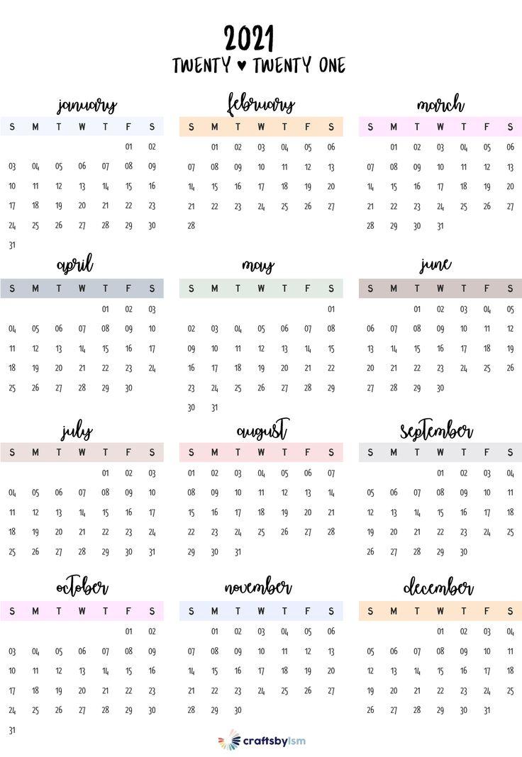 2021 Calendar Printable Free in 2020 | Calendar printables ...
