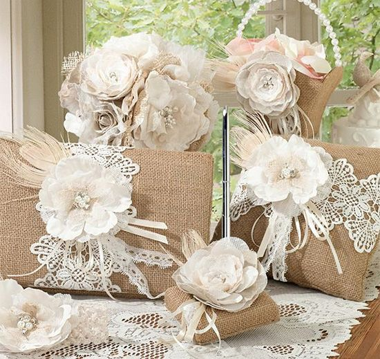 This rustic Burlap & Lace Collection is beautifully embellished with burlap and lace creating a one-of-a-kind rustic collection. This collection includes matching essentials for your wedding day and is great for a barn or rustic wedding.