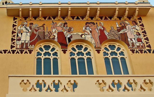 Sopron, Art Nouveau theater. Sgraffito by elinor04 mostly off, via Flickr