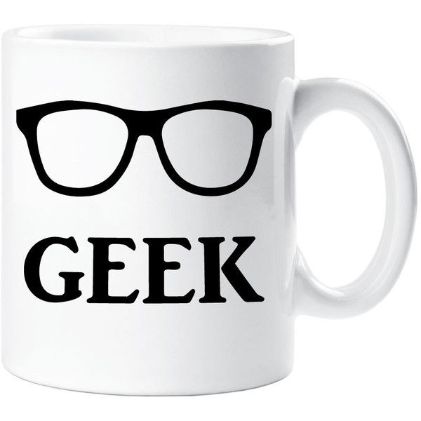 Geek Mug Gift Ceramic Cup Glasses Quote Nerd Genius Clever found on Polyvore featuring home, kitchen & dining, drinkware, drink & barware, home & living, mugs, silver, ceramic mugs, ceramic cup and wizard of oz cups
