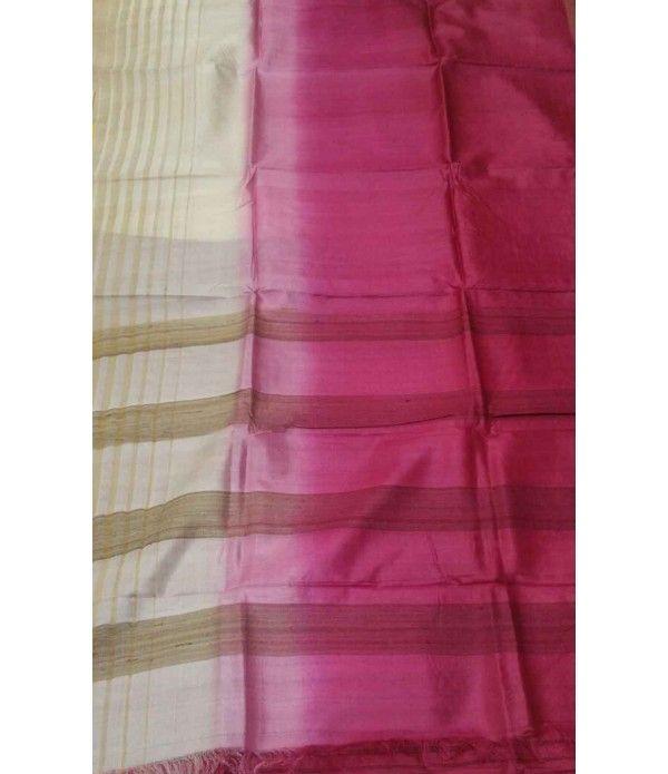 Pink and White Handloom Tussar Raw Silk Saree
