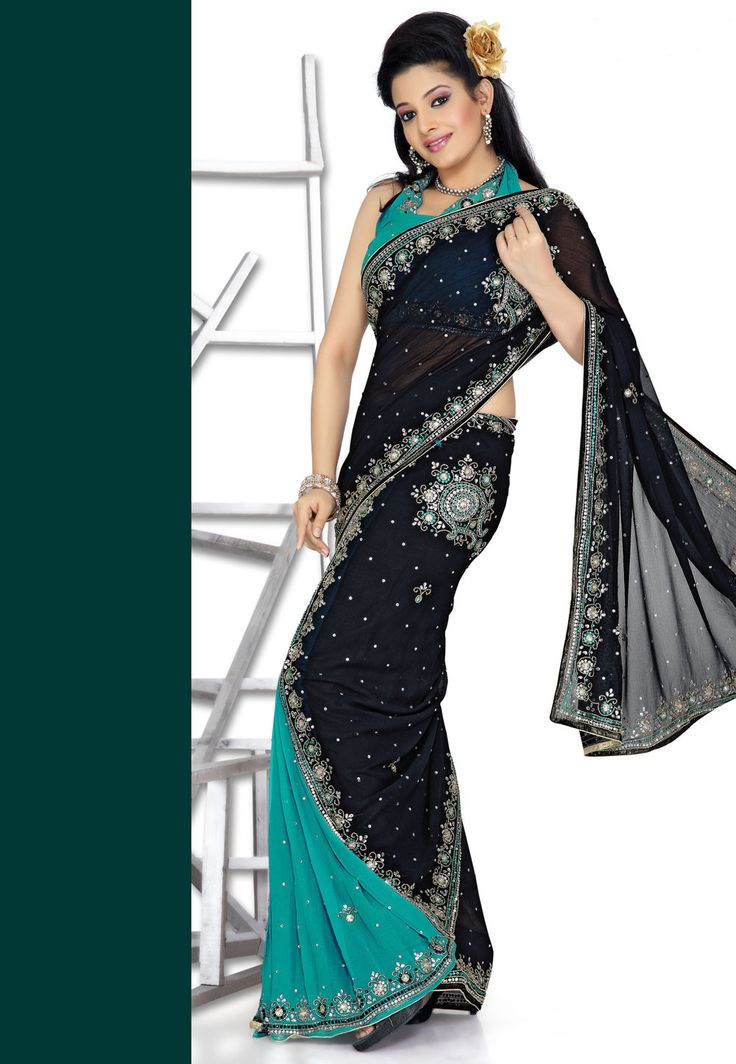 Lehenga Style Chiffon Saree in Black and Blue - Saree