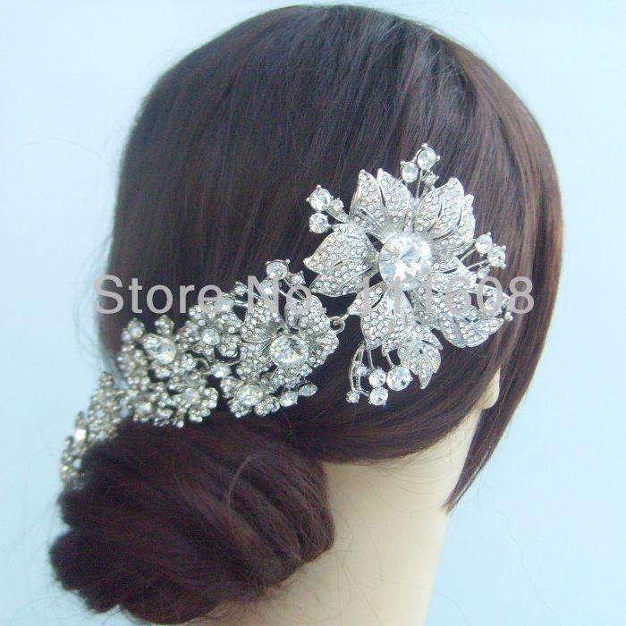 Goedkope , koop rechtstreeks van Chinese leveranciers: Beschrijving:1. is dit een hoge- kwaliteit, bruids bloem haar kam. Dit artikel is gemaakt van aluminium dat wordt gedaan in zilver toon verguld met duidelijke strass kristallen. Deze kristallen zijn s