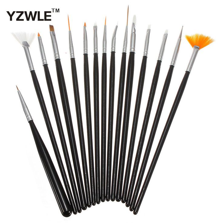 YZWLE 15PCS/Pack Black Professional Acrylic Nail Painting Drawing Pen,Designed UV Gel False Nails Decoration Tools 34