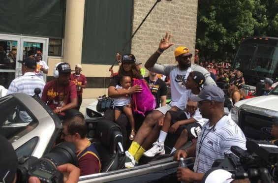 It's A Celebration: LeBron James Wears The Nike LeBron 2 Oregon PE For Championship Parade on http://SneakersCartel.com | #sneakers #shoes #kicks #jordan #lebron #nba #nike #adidas #reebok #airjordan #sneakerhead #fashion #sneakerscartel