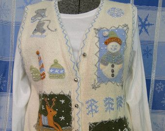 Ugly Christmas Sweater Vest Cheap Tacky, Gaudy, Novelty, Holiday, Party, Xmas by ABetterSweaterShop on Etsy K19