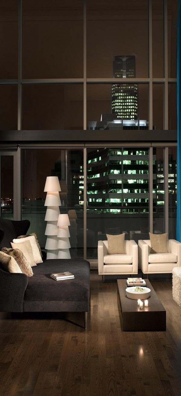 W Montreal—Wow Suite Living Room by Night