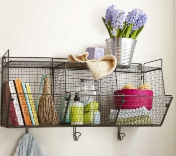 For the laundry room: Ideas, Three Bins Wire, Wire Shelves, Hanging Shelves, Bathroom Storage, Laundry Rooms, Hanging Shelf, Wire Shelf, Wire Hanging