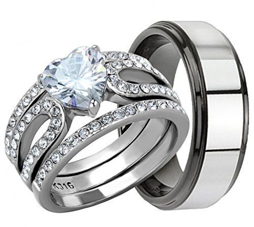 4 Piece His Hers Womens Stainless Steel Heart Cut Cubic Zirconia 17 Ct Engagement Wedding Ring SetWedding