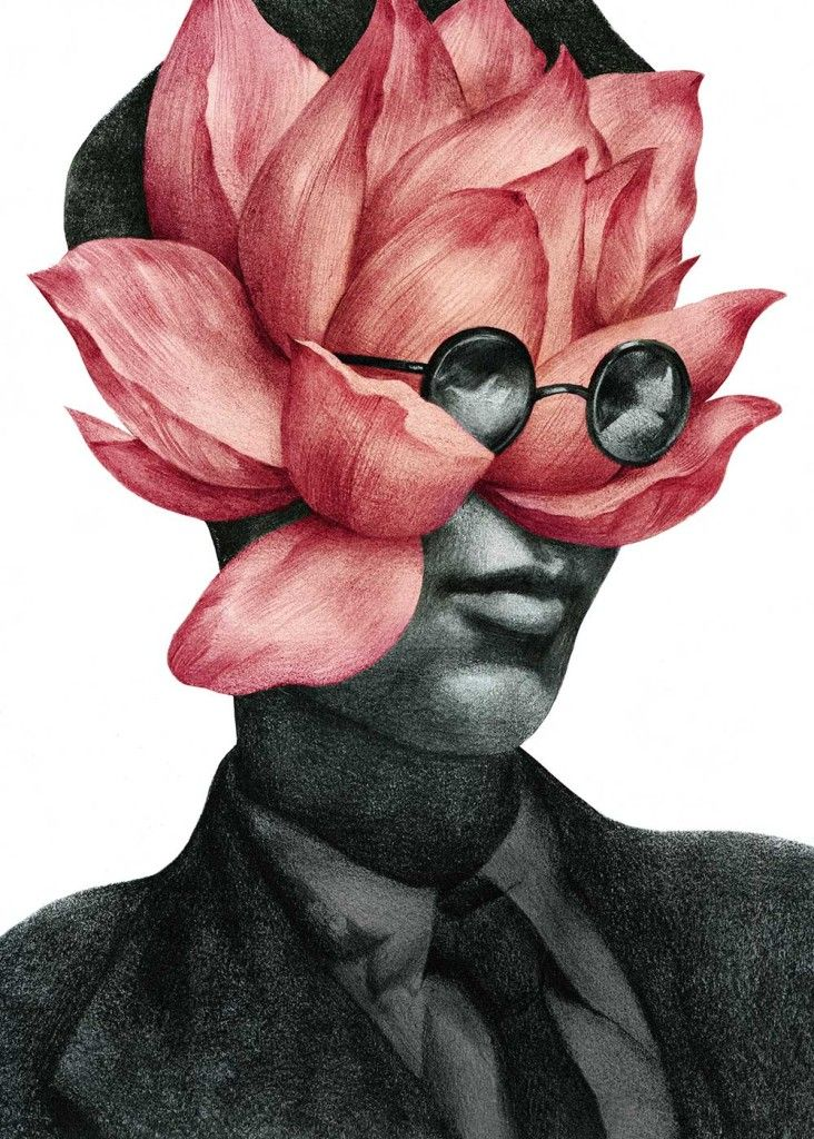Illustration portrait of Aldous Huxley with a flower of enlightnment, blooming from his mind.