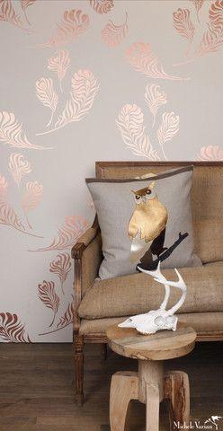 Michele Varian - Plume Wallpaper Snow Copper