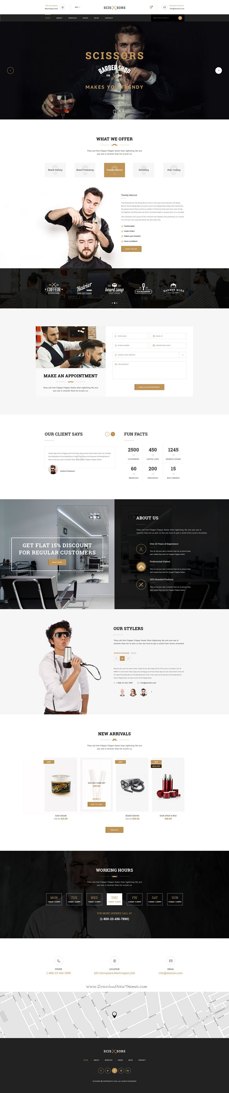 Scissors : Salon & Hair Styling PSD Template suitable for all types of #Salon and Hair Styling businesses. That Includes totally 20 Pages. #barbershop #psdtemplate