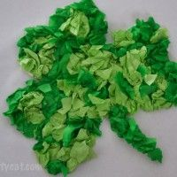 St. Patricks Day Crafts for Kids: Tissue Paper Shamrock.  Kids of all ages can m