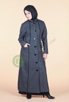 Black Accent Wool Abaya