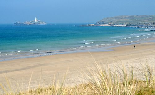 Gwithian beach with Godrevy Lighthouse - Cornwall
