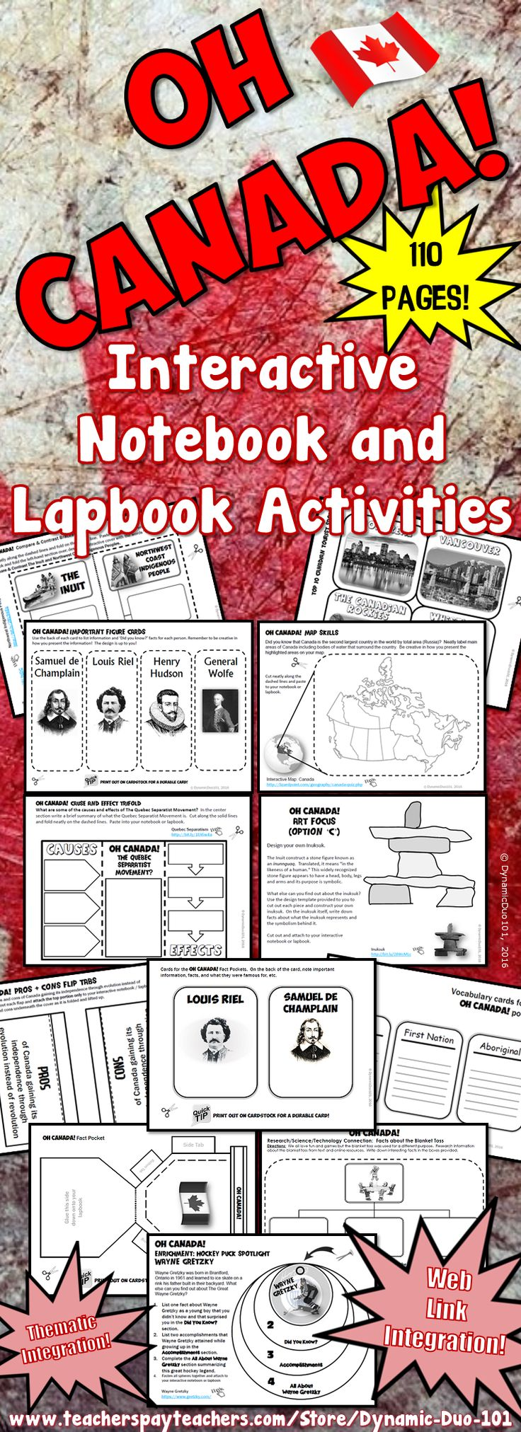 Oh Canada! Canada Interactive Notebook and Lapbook Activities allows students to think on a higher level by virtue of collaborative and imaginative work. Students will create their lapbooks and/or use the templates for an interactive notebook for differentiated, self-directed learning! ★ ☆ ★ This bundle requires absolutely NO PREPARATION! ★ ☆ ★