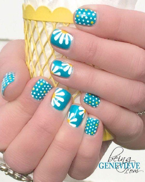 Polka dots and daisy petals nail art