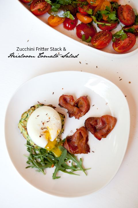 Zucchini Fritter Stack + Heirloom Tomato Salad for valentines brunch!