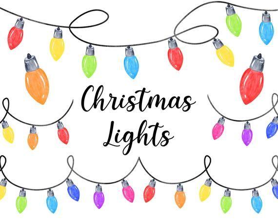 Watercolor Christmas Lights Clipart Christmas Vintage Border Etsy In 2021 Christmas Lights Clipart Christmas Watercolor Christmas Clipart