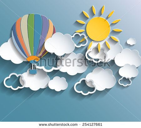 Abstract retro colors background with clouds, baloon and sun. Vector eps10.