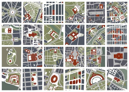Urban fragments I of NewYork, Paris, London, Berlin, Rome and Seville Art Print