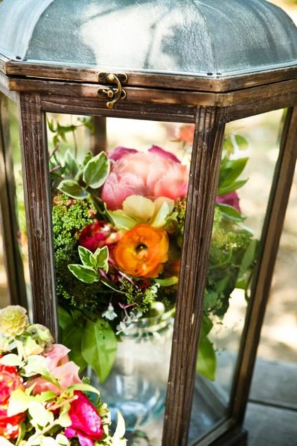 vase of flowers in a lantern ♥