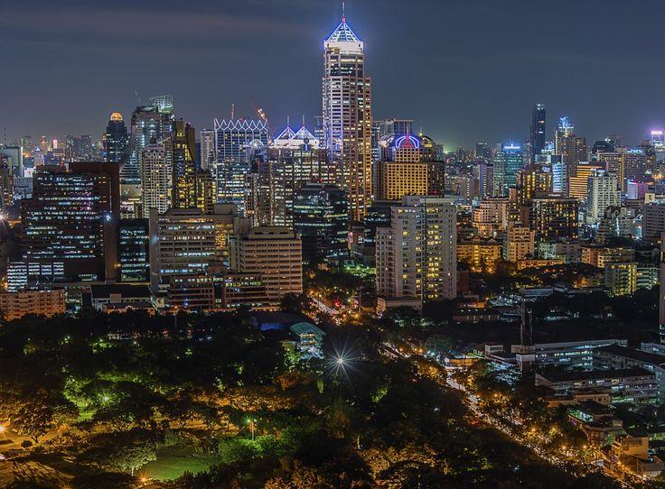 Таиланд Дома Бангкок Мегаполис Ночь Фонари Города