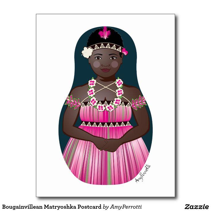 Bougainvillean Matryoshka Postcard