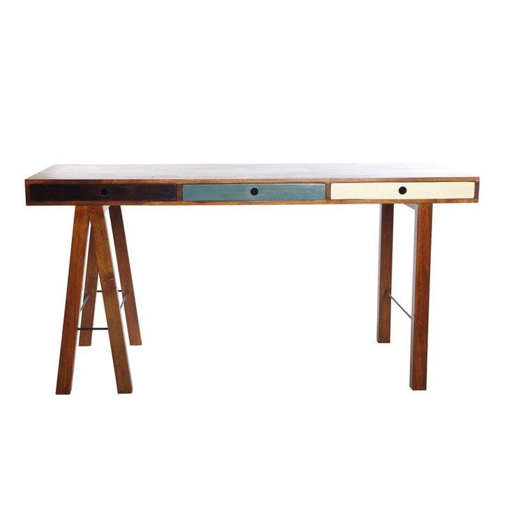 Mix Skrivebord  - Asymmetrisk skrivebord i indisk mangotræ med skuffer. Bordets forskellige ben samt skuffernes forskellige farvede fronter giver det et funky og ungt look.