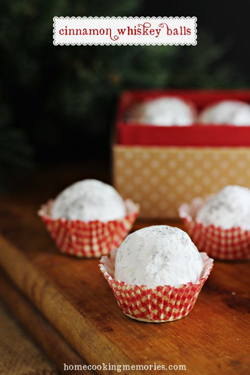 Cinnamon Whiskey Balls -- easy-to-make, boozy Christmas treats with a punch of cinnamon whiskey