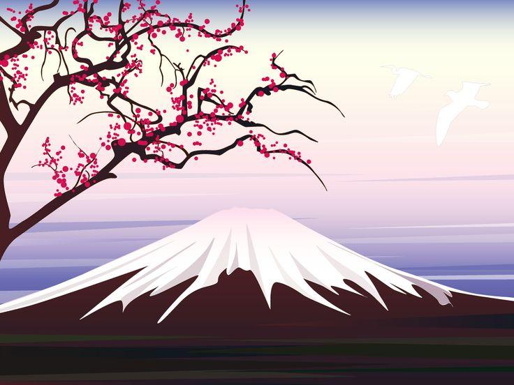 Japanese Art. See More. Sakura Tree Drawing Easy Paint   Illustration  experiment: Dawn over Mount Fuji