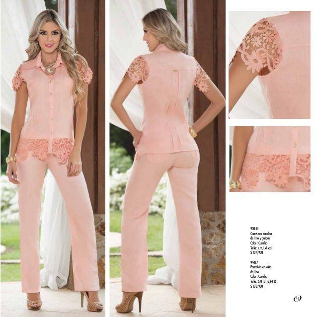 90054 Camisero en olan de lino y guipur Color: Curuba Talla: s,m,l,xl,xxl $ 104,900 94417 Pantalón en olán de lino Color: ...