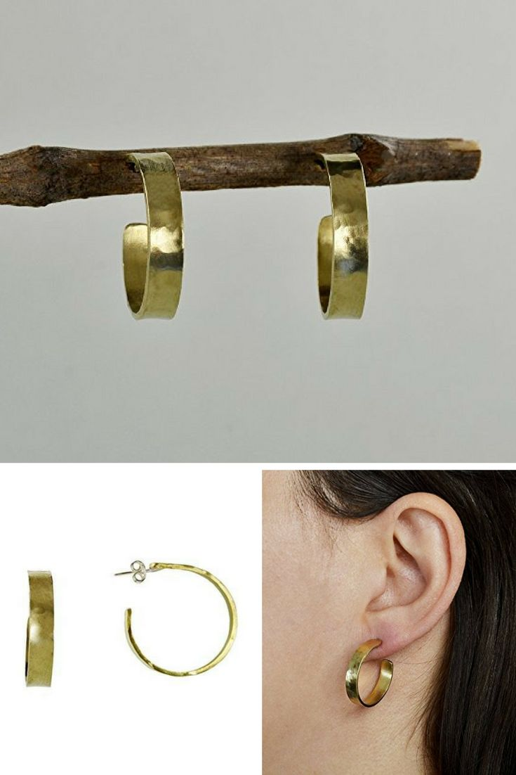 Handmade small hammered hoops made of brass with sterling silver posts and clasps.