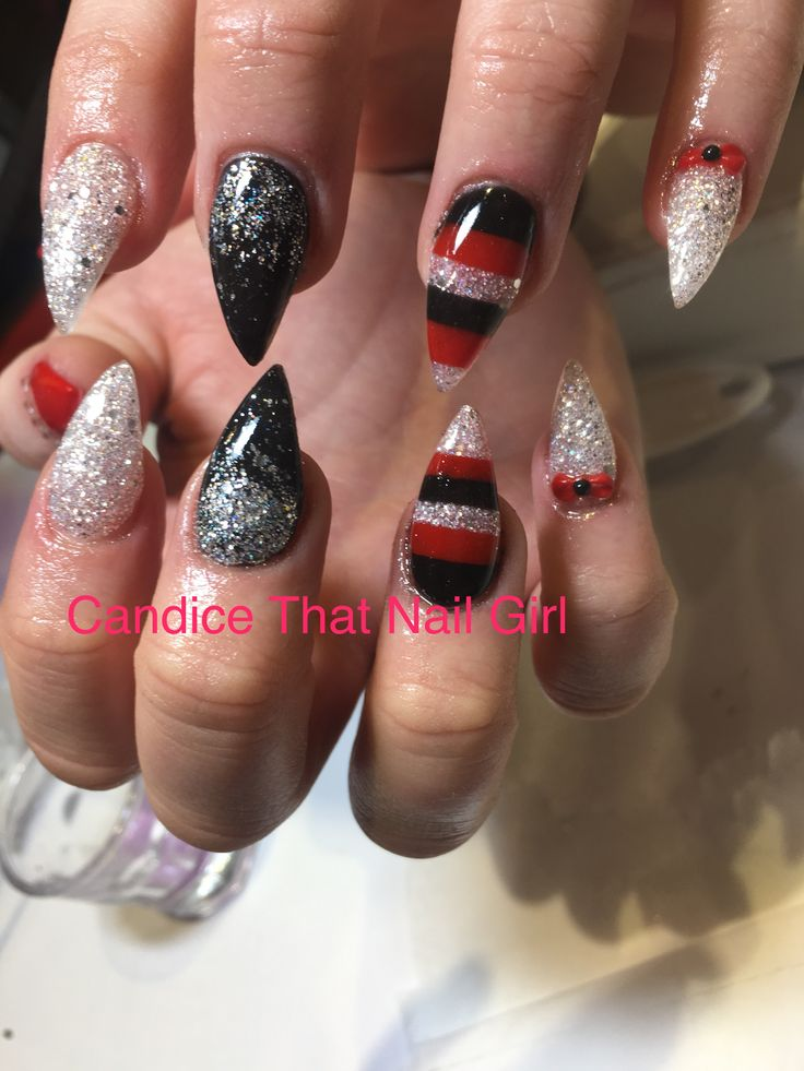 Acrylic nails design work  glitter