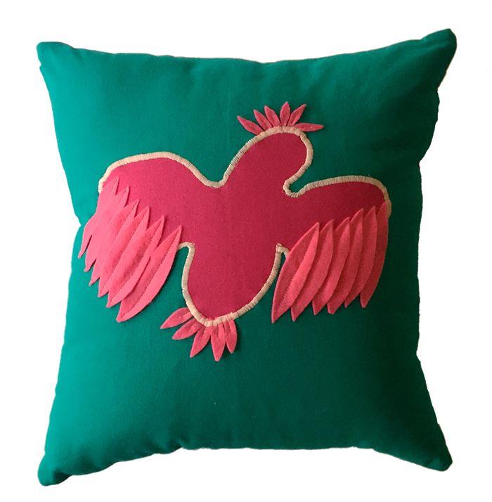 Pink & Teal Galah Applique Cushion