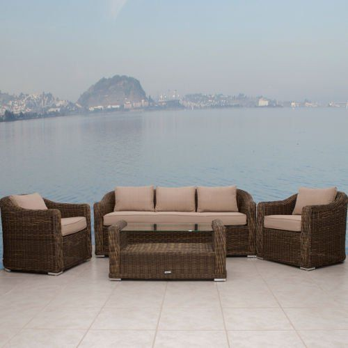 Atlantic Palma Deep Seating 4 PC Wicker Set . $2801.00. This Atlantic Palma Deep Seating 4 PC Wicker Set will give you the extra living space you've been looking for! It features a sturdy aluminum frame and legs plus water repellent cushions! Includes 1 sofa, 2 armchairs, and 1 coffee table!