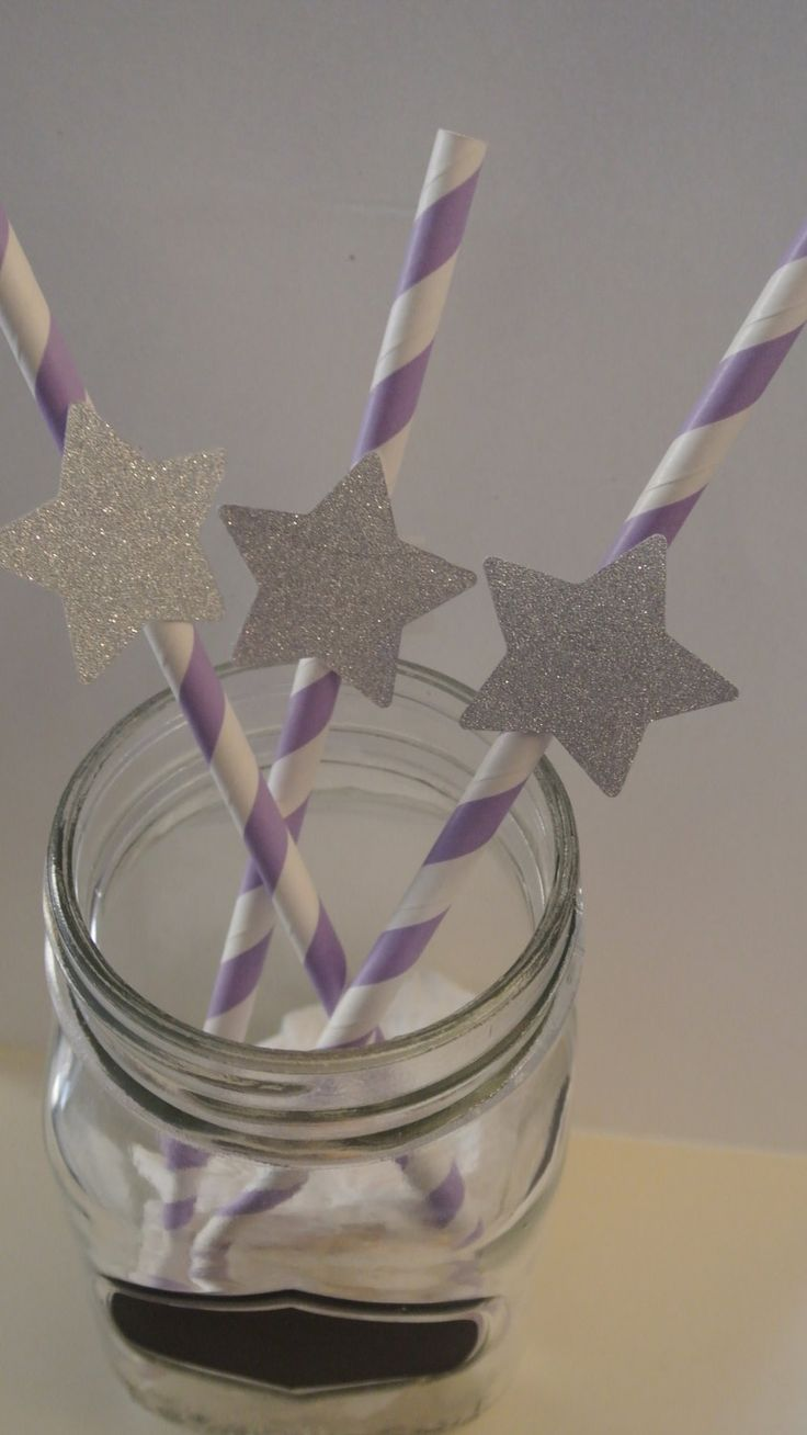Purple Straws with Silver Stars 20ct Twinkle Twinkle Little Star by Paper Rabbit Ready in 1-3 Business days by PaperRabbit87 on Etsy
