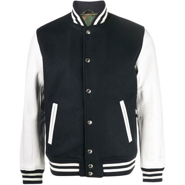 Sophnet. classic varsity jacket (215.360 HUF) ❤ liked on Polyvore featuring men's fashion, men's clothing, men's outerwear, men's jackets, blue, mens real leather jackets, mens blue jacket, mens blue leather jacket and mens leather jackets