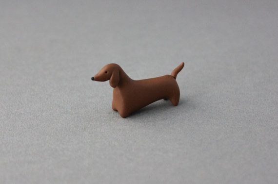 polymer clay dog dachshund miniature figurine chocolate brown animal totem sausage dog on Etsy, $17.24