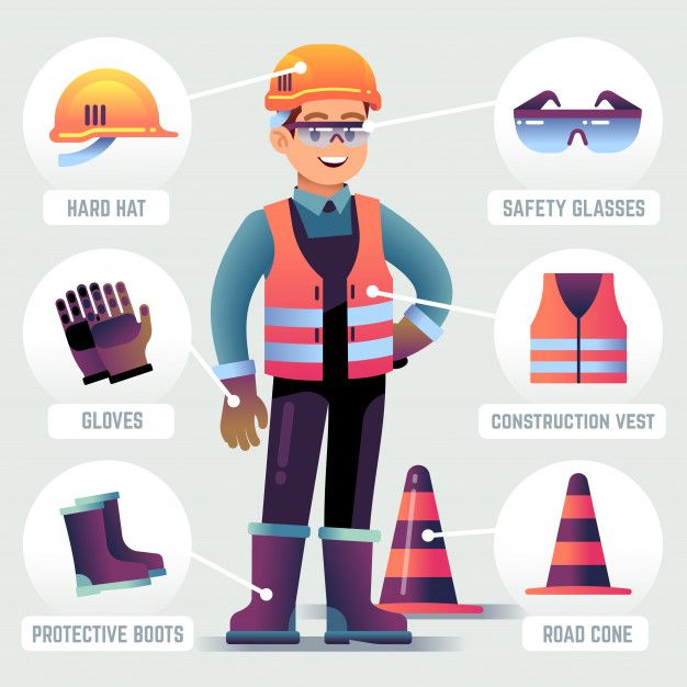 Worker With Safety Equipment Man Wearing Helmet Gloves Glasses Protective Gear Builder Protection Clothing Ppe Vector Infographic Worker Safety Safety Pictures Safety Infographic