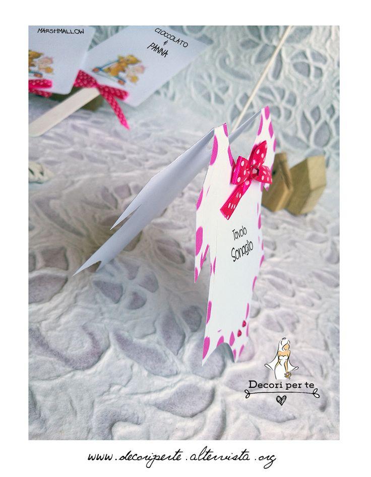 place card - baby girl baptism - fuxia pois segnatavolo battesimo bimba - fuxia pois