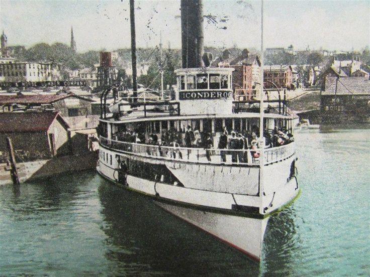 1908 Photo Postcard of The Steamship Ticonderoga on Lake Champlain leaving Burlington, VT