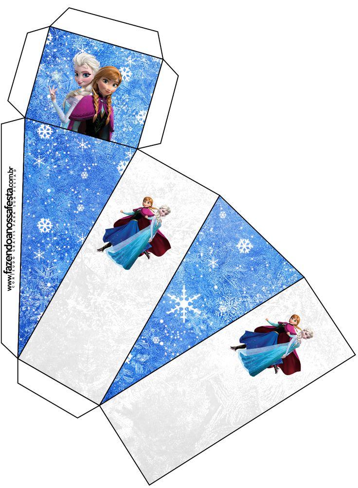 Caixa Fatia Frozen Azul e Branco: