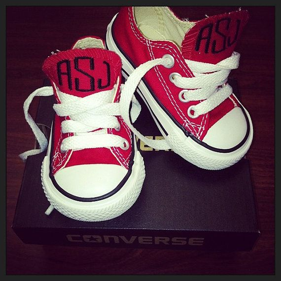 Baby Monogrammed Converse by OneThirtyOneDesigns on Etsy, $55.00