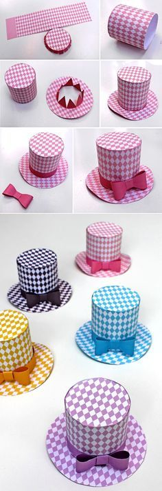 Five DIY hats to make in fun, fresh pastel colors. These diamond mini top hats are super cute – perfect for dressing up any outfit!  happythought.co.uk/craft/printables/mini-top-hats/party-hat-pattern