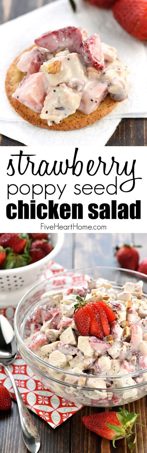 Strawberry Poppy Seed Chicken Salad ~ this light and fruity chicken salad is perfect for spring or summer, with crunchy toasted pecans and a creamy, honey-kissed dressing that's been lightened up with Greek yogurt!   FiveHeartHome.com