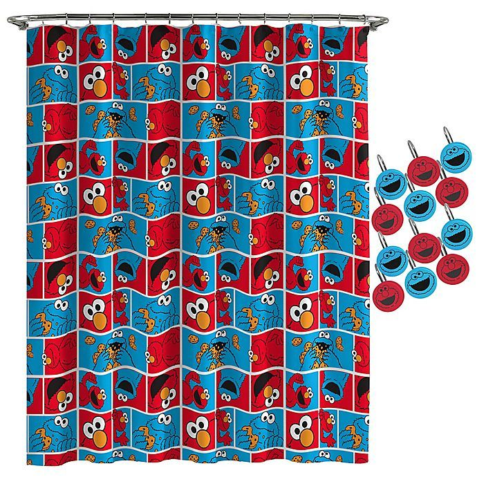 Sesame Street Elmo Cookie Shower Curtain And Hooks Set In 2020 Elmo Cookies Sesame Street Elmo