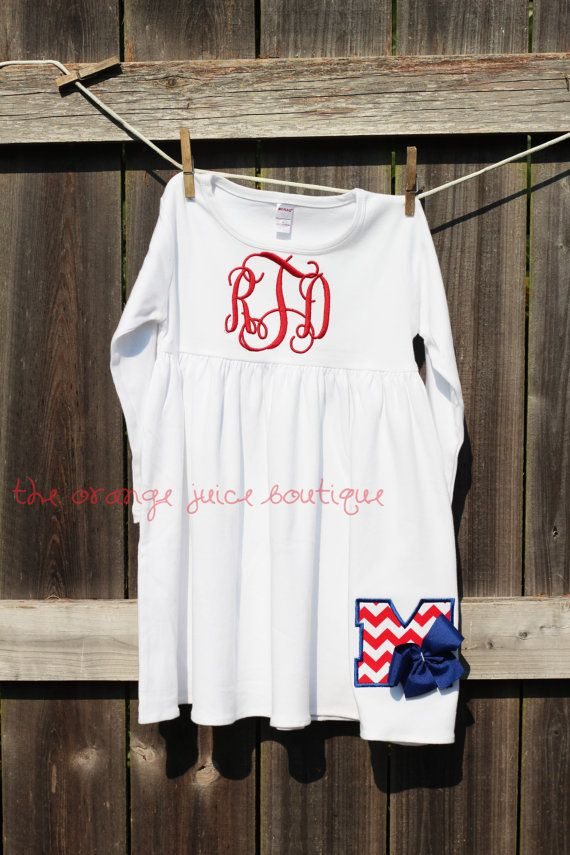 Monogrammed Ole Miss Rebels Football Dress by OrangeJuiceBoutique, $32.00